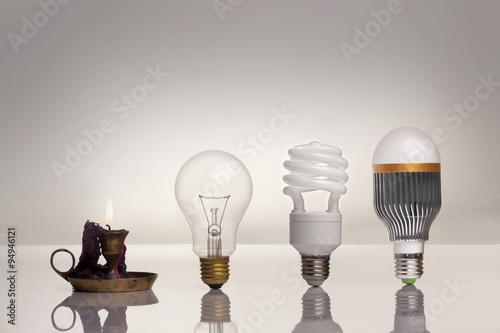 Fototapeta evolution of lighting, with candle, tungsten, fluorescent , LED obraz