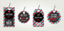 Vector Christmas Sale Poster With Toys. Holiday Background And Design Banner. Vector Banner With Hand-drawn Xmas Graphic.