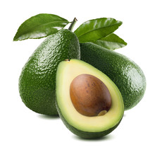 3 Avocado Cut Half Seed Leaves Isolated On White Background