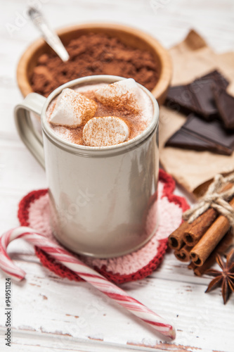 Poster Chocolate Cocoa drink with marshmallows