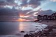 Beautiful sunset over the sea resort