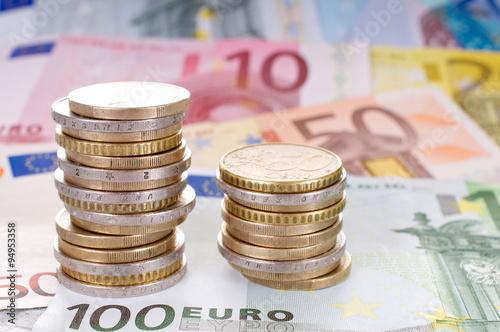 Fotografía  Geldscheine und Münzen