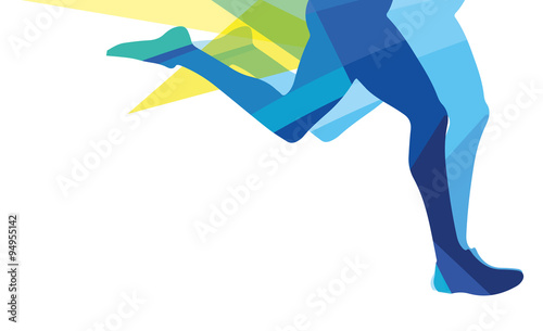 Fotomural Silhouette of a man running legs transparent overlay colors