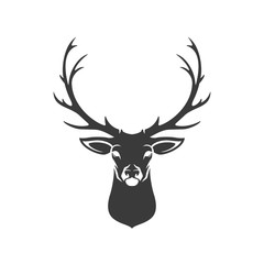 Fototapeta Deer Head Silhouette Isolated On White Background Vector object
