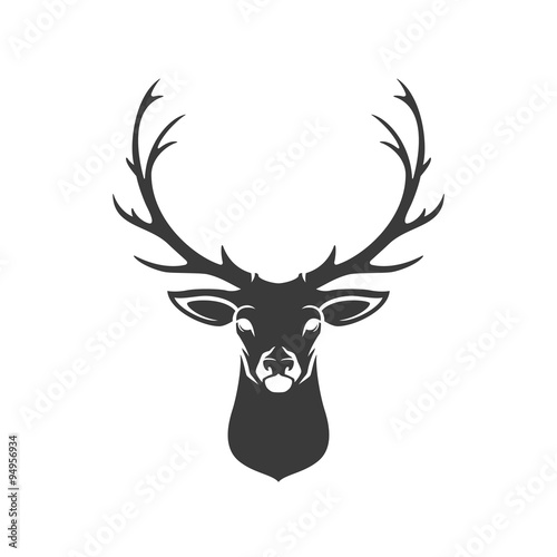 Fotografie, Obraz  Deer Head Silhouette Isolated On White Background Vector object