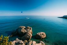 Parasailing Near Resort Town Of Nerja In Spain.