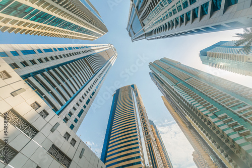 Photo  Tall Dubai Marina skyscrapers in UAE