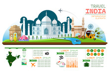 Info Graphics Travel And Landmark India Template Design. Concept Vector Illustration