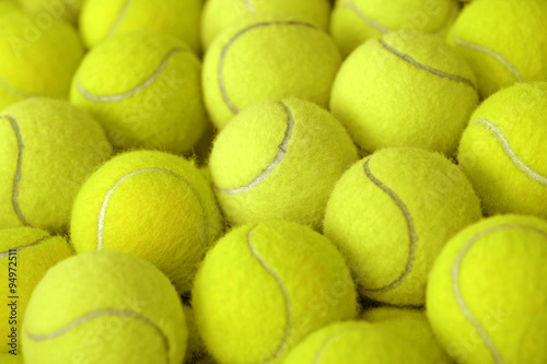 pile of tennis ball as sport background Fotobehang