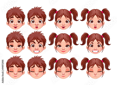 Poster Chambre d enfant Different expressions of boy and girl
