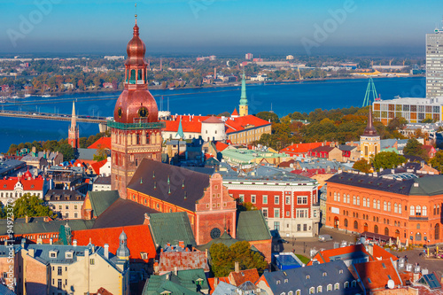 Aerial view of Old Town and Daugava, Riga, Latvia © Kavalenkava