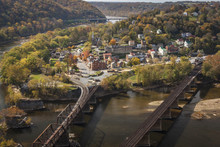 The Historic Civil War Town Of Harpers Ferry At The Confluence Of The Potomac And Shenandoah Rivers.