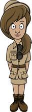 Zoo Keeper Woman Cartoon Illus...