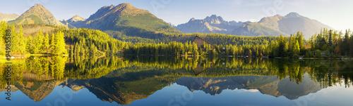 Fototapeta High resolution panorama of mountain lake Strbske Pleso obraz