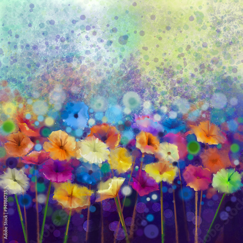 Fotografiet  Abstract floral watercolor painting