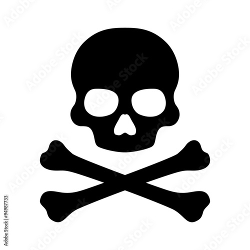 Slika na platnu Crossbones and skull death flat vector icon for apps and games