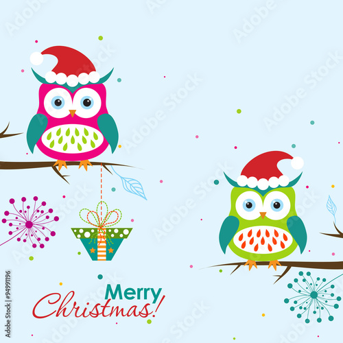 Template Christmas greeting card with a owl, vector – kaufen ...