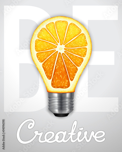 Photo  Be creative. Photorealistic light bulb in the form of an orange.