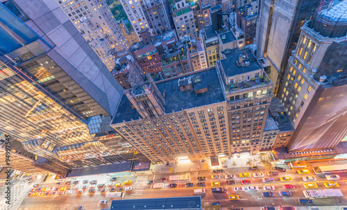 Bird's eye view of Manhattan skyscrapers. Top Down photo with st