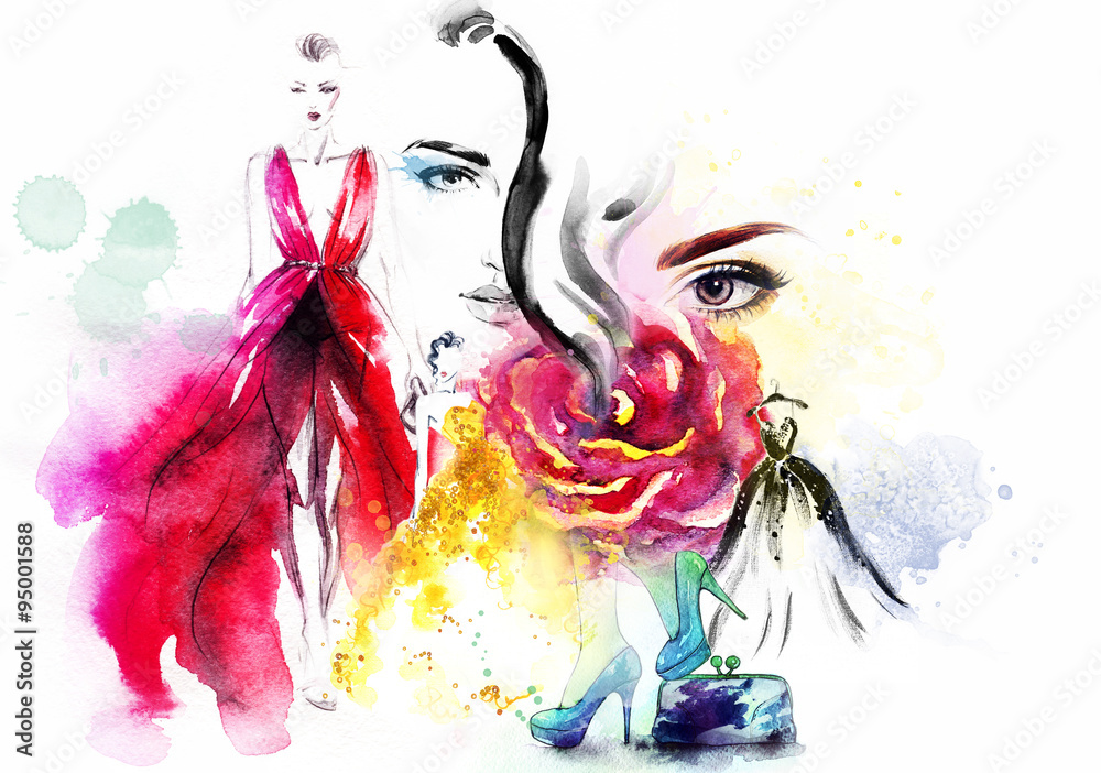 Fototapety, obrazy: fashion collage. watercolor illustration
