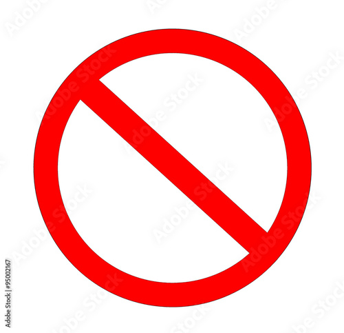 Red not allowed sign in white background Wallpaper Mural