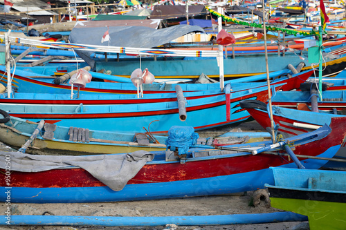 Garden Poster Water Motor sports Colorful boats background on the fish market in Bali
