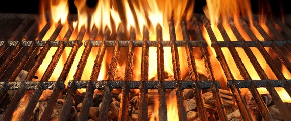FototapetaBBQ Party, Picnic Or Cookout Concept With Empty Flaming Charcoal