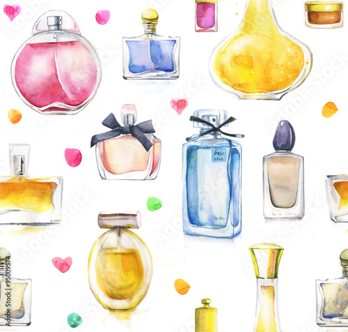 Cotton fabric watercolor seamless background with perfumes