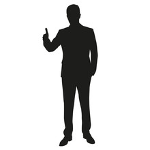 Thumbs Up. Man Vector Silhouette