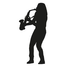 Saxophone Player. Vector Silho...