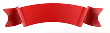 3d Red Double Festive Ribbon Tag, Isolated Object