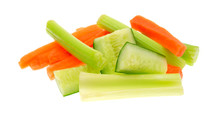 Carrots Celery And Cucumbers On A White Background