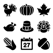 Thanksgivin Icons Set Isolated...