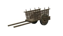 Ancient Wooden Cart - Isolated On White Background