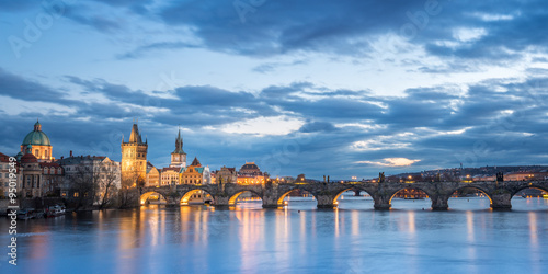 Printed kitchen splashbacks Prague Charles Bridge in Prague at Night