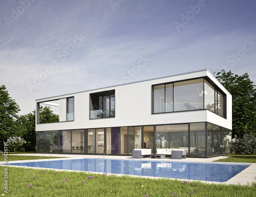 Moderne Villa Mit Pool 2 Buy This Stock Illustration And Explore