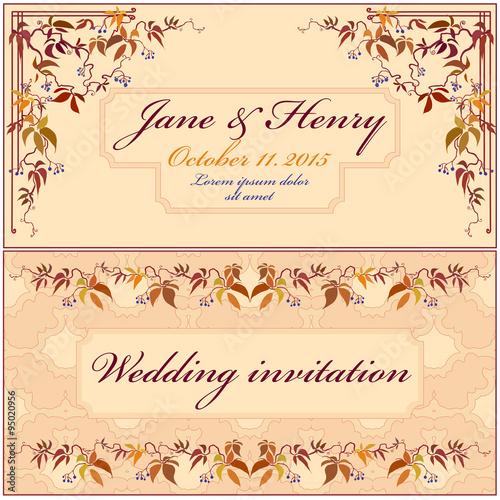 Grapevine Wedding Invitation Vintage Elegant Design