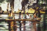 Malowanie czterech Indii na łodzi na Amazonce. - 95024555