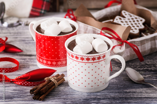 Foto op Plexiglas Chocolade hot chocolate and gingerbread