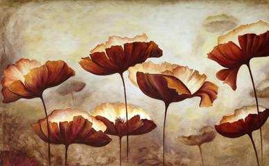 Fototapeta samoprzylepna Painting poppies canvas