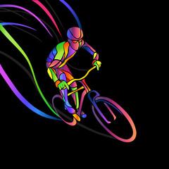 Fototapeta Sport Professional cyclist involved in a bike race.