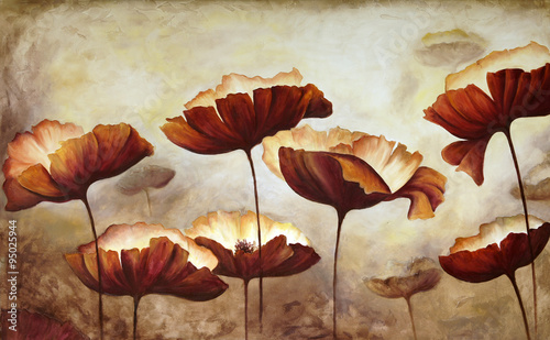 Painting poppies canvas #95025944