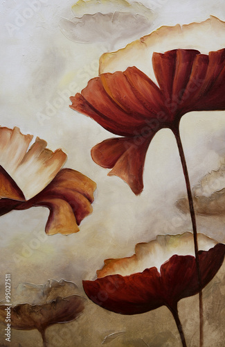 Painting vertical poppies #95027511