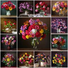 Obraz na Plexi Kwiaty Коллаж из натюрмортов с букетами. Цветочный фон.