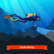 Professional Scuba Diver Man U...