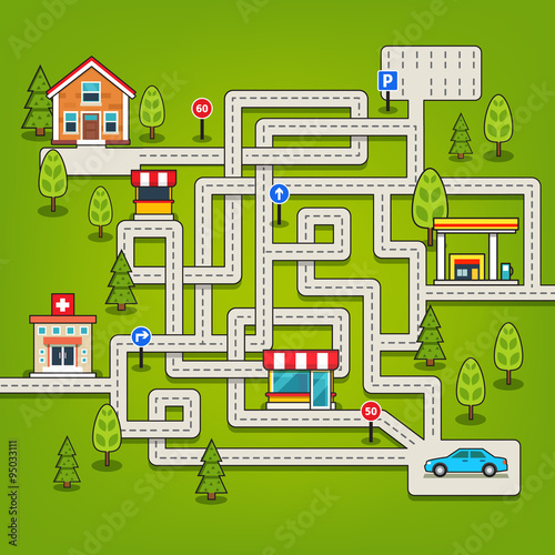 Poster de jardin Route Maze game with roads, car, home, tree, gas station