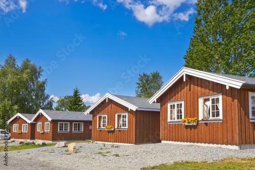 Spoed Foto op Canvas Scandinavië Coastal wooden houses in Norway