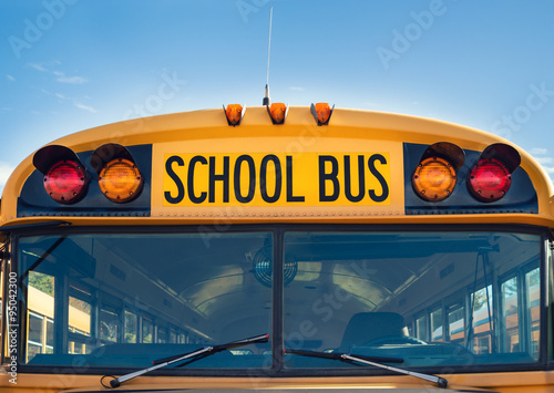 Photo Front view of a yellow school bus