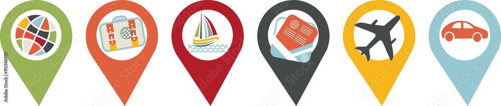 Fototapeta icône voyage, vacances et transport