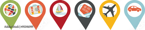 Obraz icône voyage, vacances et transport - fototapety do salonu